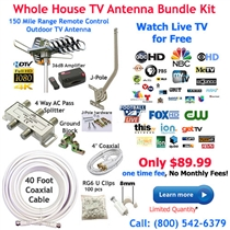 Whole House 150 Mile Outdoor TV Antenna Bundle Kit with J-Pole, Coaxial Cable and 4 Way Splitter - UHF/VHF/FM/SDTV/HDTV/4K
