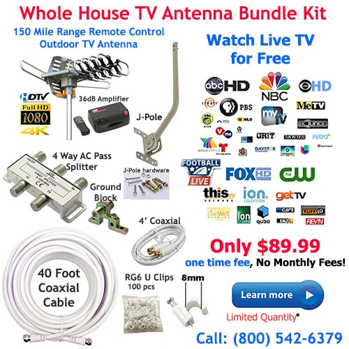 Out of Stock - Whole House 150 Mile Outdoor TV Antenna Bundle Kit with  J-Pole, Coaxial Cable and 4 Way Splitter - UHF/VHF/FM/SDTV/HDTV/4K