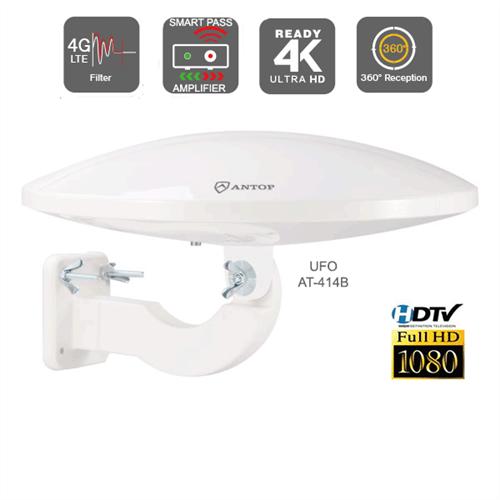 Antop AT-414B Amplified Outdoor Digital VHF/UHF Omni-Directional TV  Antenna, 4G LTE Filter, Smart Pass Amplifier - SDTV/HDTV/4K