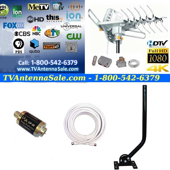 HD 2605 Ultra - EZ Bundle Kit with J-Pole, Surge Protector and 30 foot  Coaxial Cable
