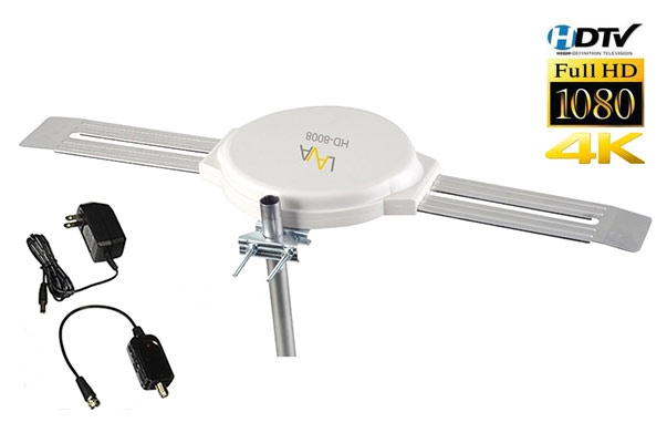 360° Reception Omni-directional Amplified Indoor//Outdoor HDTV Antenna Up 120Mile