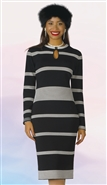 Lily & Taylor 613 Long Sleeve Keyhole Stripe Knit Dress