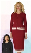 Lily & Taylor 616 Long Sleeve Cardigan 2pc Knit Skirt Set