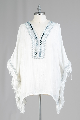Etc Poncho Fringe Top CHT542