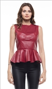 Why Faux Leather Top T180138