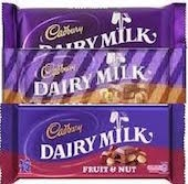 CADBURY DAIRY MILK BARS 48g (48)