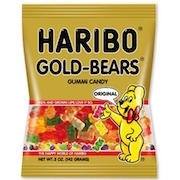 "HARIBO ""GOLD"" GUMMY BEARS. IMPORTED 5oz(12)"