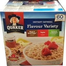 QUAKER INSTANT OATMEAL ASSORTED 60 POUCHES / BOX