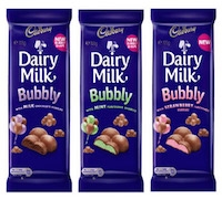 CADBURY BUBBLY CHOCOLATE BARS 18(90g)