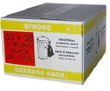 GARBAGE BAGS 30 X 38 STRONG BLACK AND CLEAR