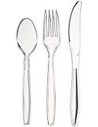 HEAVY STRONG CLEAR PLASTIC CUTLERY (1000)