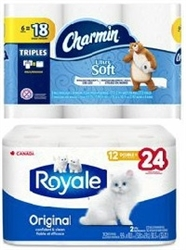 CHARMIN SOFT 6=18 OR ROYAL ORIGINAL 12=24 (BOTH DOUBLE ROLLS)