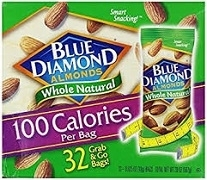 BLUE DIAMOND NATURAL WHOLE ALMONDS 32 X 18gr PACKS