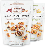 CREATIVE SNACKS ALMOND CLUSTERS 113g PACKS (12)