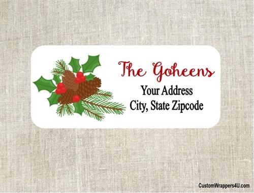 Christmas Address Labels.Christmas Address Label Holly Pinecones