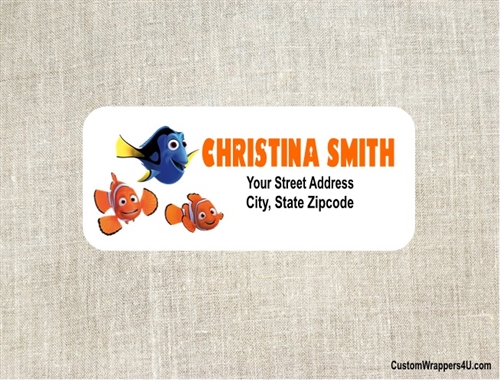 birthday address label finding nemo dory nemo and marlin
