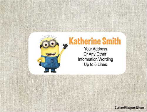 birthday address label despicable me minion