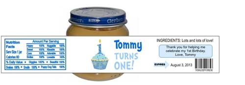 first birthday baby food jar cupcake