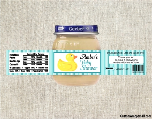 baby shower baby food jar label rubber ducky