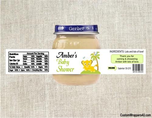 baby shower baby food jar label lion king