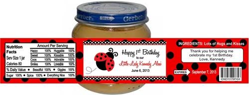 first birthday baby food jar label ladybug