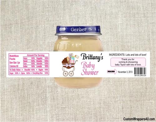 baby shower baby food jar label stroller 3