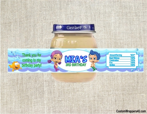Baby Shower Baby Food Jar Label Bubble Guppies