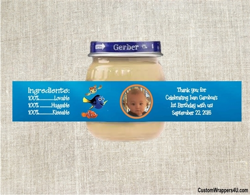 baby shower baby food jar label finding nemo with photo