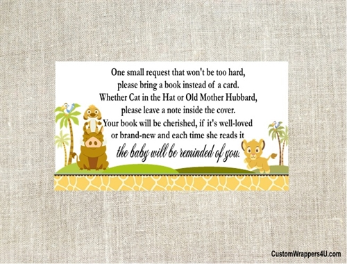 Baby Shower Book Request Card Lion King