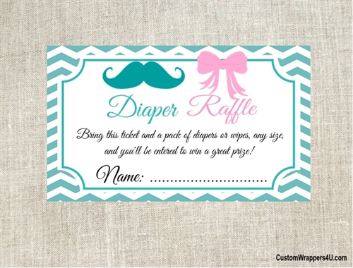 Baby Shower Diaper Raffle Ticket Gender Reveal Mustache And Bow
