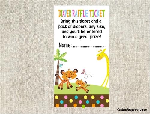 Baby Shower Diaper Raffle Ticket Fisher Price Jungle Animals