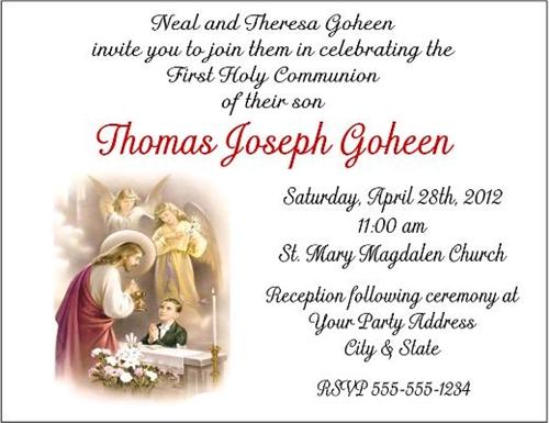 first communion invitation jesus child boy or girl