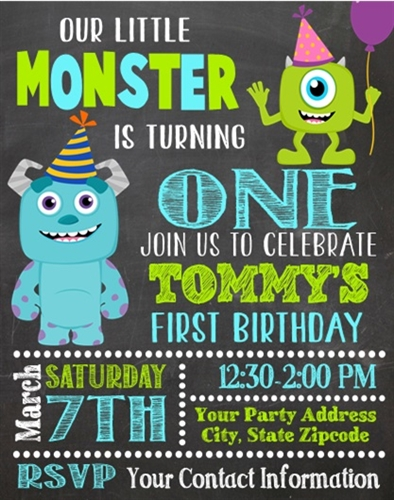 Monsters Inc First Birthday Invitations