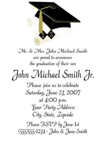 Graduation Announcement Invitation Cap Diploma Year 2 Blue