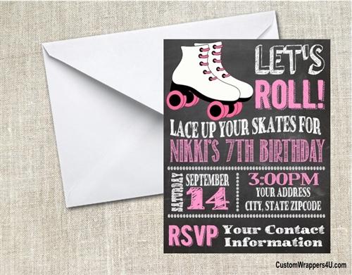 Birthday invitation roller skate skating chalkboard pink filmwisefo
