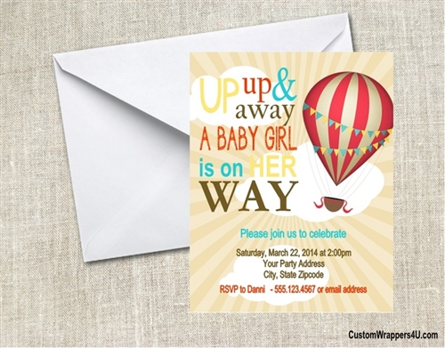 Baby Shower Invitation Hot Air Balloon
