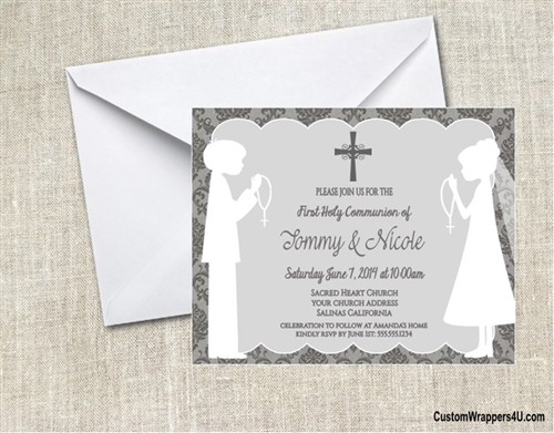 First communion invitation shadow standing damask twins boys and first communion invitation shadow standing damask twins boys and girls solutioingenieria Image collections