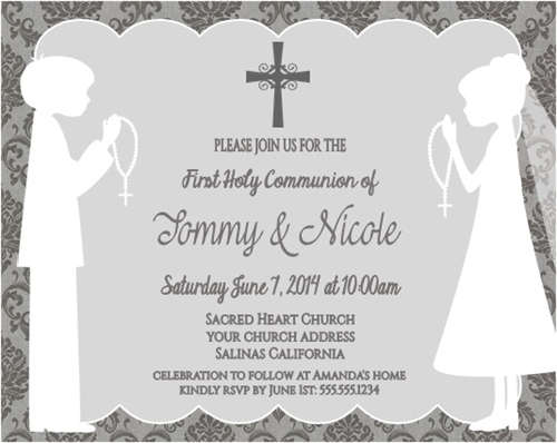 First Communion Invitation Shadow Standing Damask Twins boys and