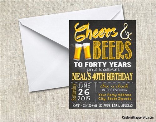Cheers To Beers Adult Birthday Party Invitation