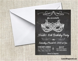 Masquerade Chalkboard Birthday Party Invitation