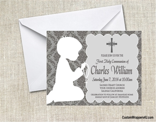 First communion invitation shadow kneeling damask boy or girl solutioingenieria Image collections
