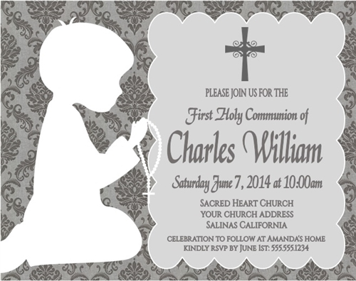 First Communion Invitation Shadow Kneeling Damask boy or girl