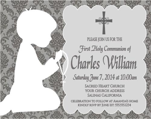 first communion invitation shadow kneeling damask boy or girl