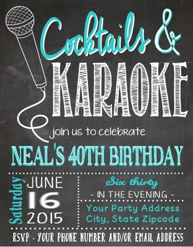 Adult birthday invitation karaoke chalkboard stopboris