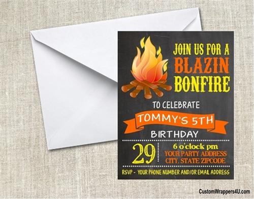 birthday invitation camping bonfire chalkboard