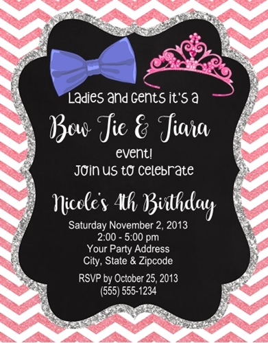 Birthday invitation bow ties and tiaras filmwisefo
