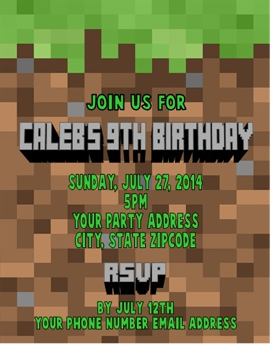 Birthday invitation minecraft background stopboris Images