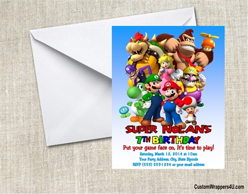 Super Mario Nintendo Characters Birthday Party Invitation