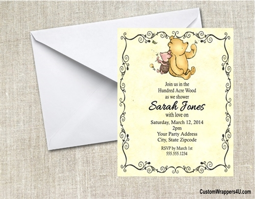 Baby Shower Invitation Winnie the Pooh Classic Pooh and Piglet