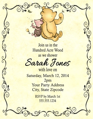 Baby Shower Invitation Winnie The